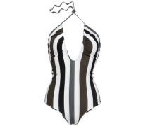 Luana Ruched Striped Halterneck Swimsuit White