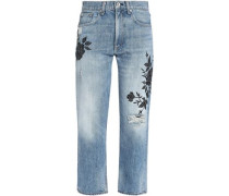 Distressed embroidered mid-rise straight-leg jeans