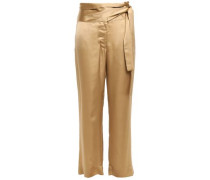 Belted Satin Wide-leg Pants Gold Size 0
