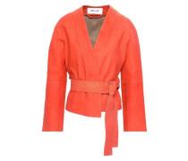 Belted Suede Jacket Bright Orange