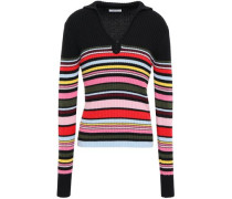 Ribbed Striped Wool And Cotton-blend Sweater Black