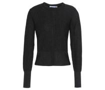 Nancy Metallic Ribbed-knit Top Black Size 1
