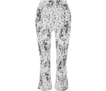 Woman Cropped Cracked Stretch-cotton Jersey Flared Pants White