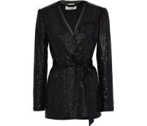 Ozur Belted Sequin-embellished Crepe Jacket Black Size 0