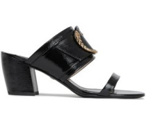 Embellished Patent-leather Mules Black