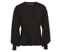 Wool Peplum Top Dark Brown