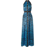 Woman Leopard-print Silk-satin Halterneck Maxi Dress Azure