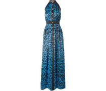 Leopard-print Silk-satin Halterneck Maxi Dress Azure