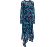 Woman Rosie Asymmetric Floral-print Georgette Peplum Midi Dress Light Blue