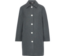 Woman Gemma Snap-detailed Marled Wool-blend Felt Coat Dark Gray