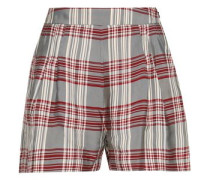 Checked Twill Shorts Gray