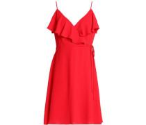 Wrap-effect ruffle-trimmed crepe mini dress