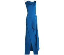 Alford Asymmetric Draped Hammered Silk-satin Gown Cobalt Blue