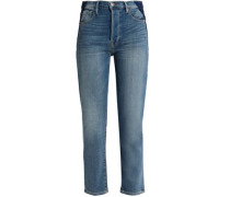 Two-tone high-rise slim-leg jeans