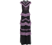 Ruffled Lace-trimmed Embroidered Tulle Gown Violet Size 14