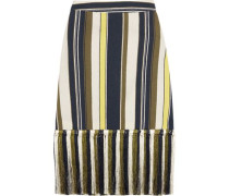 Zephyr fringed striped slub silk skirt
