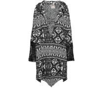 Fringed Jacquard-knit Jacket Black