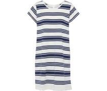 Nanae Fringe-trimmed Striped Cotton-jersey Mini Dress White