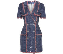 Fringe-trimmed Sequined Satin Mini Dress Cobalt Blue