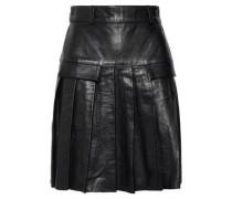 Pleated Leather Mini Skirt Black