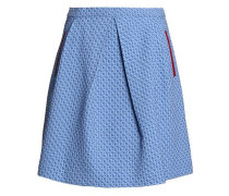 Pleated Jacquard Mini Skirt Light Blue