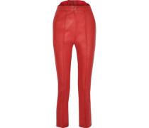 Faux Leather Slim-leg Pants Red