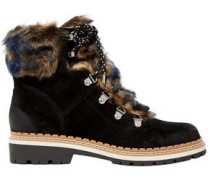 Bronte faux shearling-trimmed suede ankle boots