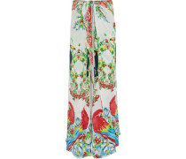 One Flew Over embellished printed silk crepe de chine wide-leg pants