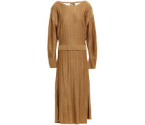 Textured Knitted Midi Dress Camel