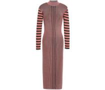 Striped Ribbed-knit Midi Dress Bubblegum