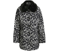 Leopard-print faux fur-trimmed shell down jacket