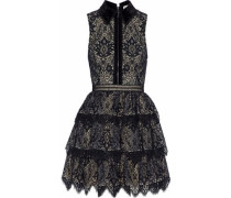 Velvet-trimmed tiered lace mini dress