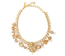 Gold-tone, Crystal And Faux Pearl Necklace Gold Size --