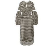 Wrap-effect Cutout Houndstooth Satin-crepe Midi Dress White Size 0