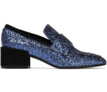 Suede-trimmed Glittered Leather Loafers Navy