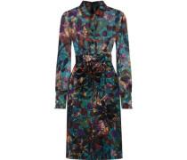 Printed fil coupé-paneled cotton-blend jacquard dress