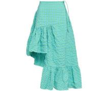 Ruffled Mélange Cotton-blend Poplin Skirt Turquoise