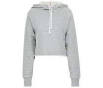 Cropped Mélange French Cotton-terry Hooded Sweatshirt Stone