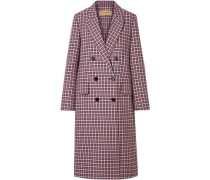 Double-breasted Checked Cotton-blend Coat Burgundy Size 12