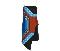 Asymmetric printed stretch satin-crepe dress
