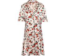 Floral-print Stretch-silk Satin Mini Shirt Dress Pastel Pink
