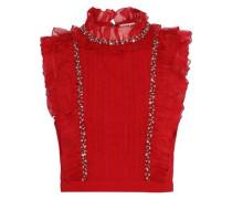 Woman Gwen Ruffled Chiffon-trimmed Embellished Crepe Top Crimson