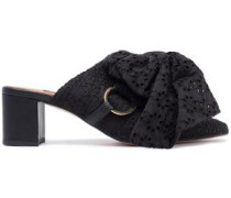Courtney bow-detailed broderie angalise mules