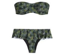 Ruffle-trimmed Printed Balconette Bikini Army Green