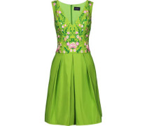 Pleated embroidered faille dress