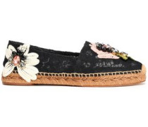 Floral-appliquéd corded lace espadrilles