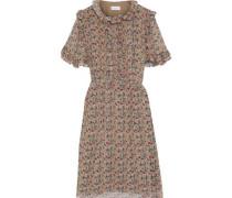 Ruffled Floral-print Georgette Dress Neutral