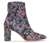 Floral-jacquard ankle boots