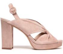 Knotted Suede Platform Sandals Blush
