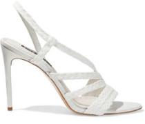 Woman Fanniey Braided Raffia Slingback Sandals White